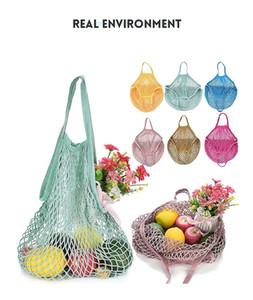 Chaîne Coton Mesh net Sac réutilisable pliable Fruit stockage Sac à main Totes femmes achats Mesh net d'épicerie Sac fourre-tout