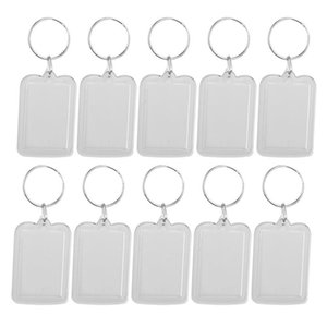 10pcs Rectangle Blank Insert Photo Picture Frame Portable Split Ring Keychain Photo Frame For Wedding Birthday Party Gifts A2