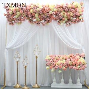 TXMON personalizado bonito 1 M seda rosa hortênsia linha de flores flores artificiais casa decoração de casa Fileira Arco Porta Flores Falsas