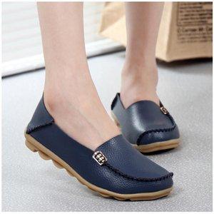 KUIDFAR 2018 Moda Gerçek Deri Kadınlar Flats Ayakkabı Kadın Casual Düz Kadınlar loafer'lar 16 renk Moccasin Kadın
