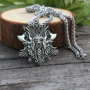 1pcs lanseis 1pcs viking Odin by Rosova necklace pendant Heathen men pendant norse jewelry viking cross raven pen