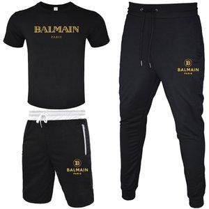 BALMAIN Мужчина Модельер Tracksuit Man Summer Спортивная футболка + Короткий Pant + Длинный Pant рукав пуловер Jogger Брюки Костюмы