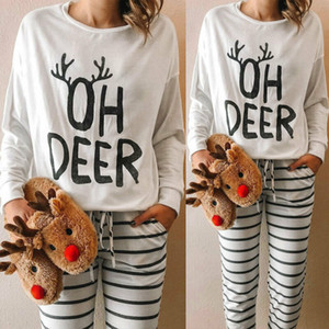 Costume de Natal das mulheres Long Sleeve Tops letra impressa T-shirt Blusa S-XL