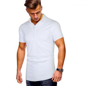 Designer Solid Color Lapel Neck Short Sleeve Button Tees Males Fashion Tshirt Mens Plus Size Casual Polos Summer