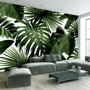 3D auto-adhésif étanche toile murale moderne papier peint vert Feuille Tropical Rain Forest murales végétales Chambre 3D Stickers muraux