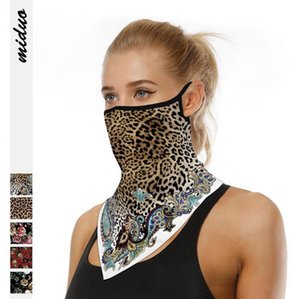 Leopard Hanging Ear Mask Triangle Scarf Cheetah Digital Print Face Mask Outdoor Mountaineering Anti Dust Breathable Magic Turban LJJO7913