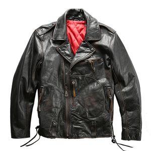 DAMSON Vintage Black Men Slim Fit Veste en cuir Biker Plus Size XXXL véritable peau de vache naturel russe Motorcycle Coat