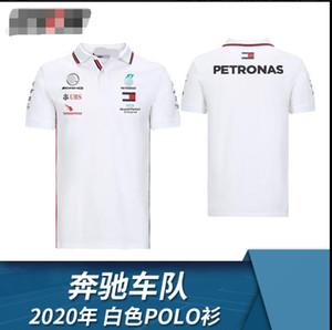 F1 poliéster corridas de Fórmula Um de secagem rápida Mercedes-Benz benz Hamilton Bottas 2020 de manga curta camisa POLO W11 mesmo costume branco