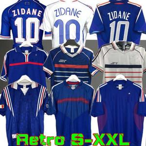 1998 FRANÇA RETRO 2002 camisas de futebol ZIDANE HENRY MAILLOT DE PÉ 1996 2004 camisa de futebol Jerseys Trezeguet afastado finais 2006 branco 2000
