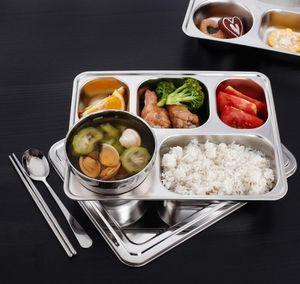 Dividido Snack Aço inoxidável Food Tray Dinner Plate Compartimentos School Restaurant Snack Placa Cozinha Food Container Lunch Box GGA3471-2