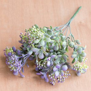 & Dried Flowers 7 Branches green berry flowers bouquet artificial fruit plants mini leaf outdoor living room wedding decoration