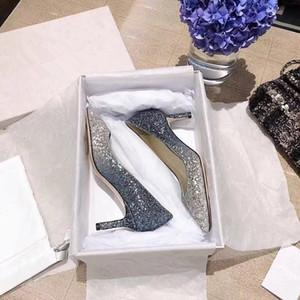 2020 vendite calde nuovo stilista JC Glitter Paillettes Tacchi alti Abito Donne Scarpe a punta Pompe scarpe da sposa partito con tacco