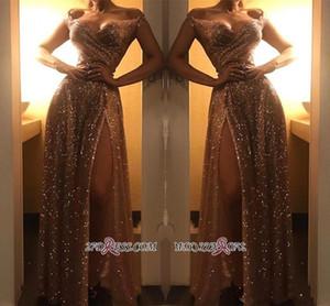 Дубай 2020 Sparkly Off Shoulder Gold Sequined Вечерние платья Arabic Sexy фронт Сплит Пром Формальные партии мантий Wear Дешевые BC1409 Robe De Soir