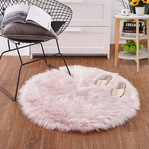 Juneiour Pink Faux Fur Wool Living Room Sofa Carpet Plush Carpets Coprimaterasso Materasso Xmas Door Window Round Tappeti Tappeti