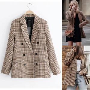 Tela escocesa mujeres de la chaqueta chaqueta de la capa del botón retro del enrejado del traje con hombreras de la chaqueta de la chaqueta casual femenino abrigos otoño invierno ropa de las mujeres