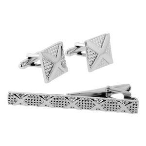 Silver Cufflink Business Shirt Cufflinks Slim Tie Clip Set Jewelry Men's Accessory