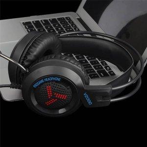 2020 Игра для наушников Музыка Аудио Big Наушники Наушники с микрофоном V2000 Gaming Headset 7,1 3,5 канала Jack стерео для ПК Компьютер