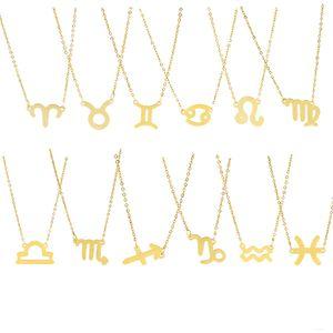 Moda de la constelación 12 colgantes de los collares para las mujeres del horóscopo del zodiaco Astrología Galaxy Gargantilla Collares regalos de cumpleaños joyería