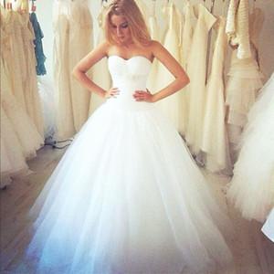 새로운 도착 - 라인 화이트 웨딩 Dresse 바닥 길이 아름다운 신부 드레스