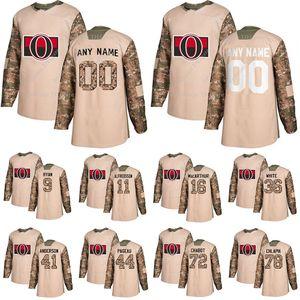 Ottawa Senators Camo Veterans Day Practice jerseys 65 Erik Karlsson 9 Bobby Ryan 39 Andreas Englund custom any number any name hockey jersey