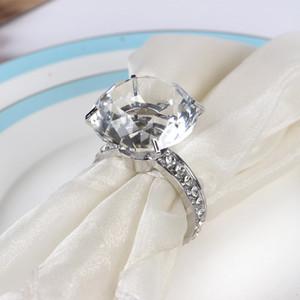 Lusso Titolare strass tovagliolo Anello di diamanti tovagliolo anello in acciaio Anello di diamante in acciaio d'argento per la Decorazione della tavola