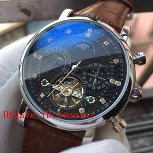 Relógio de luxo Top Marca Relógios Relógio de Couro Marrom Mecânica Automática Mão Winding MoonPhase Assista Mens Blue Diamond Relógios Calenda Presente