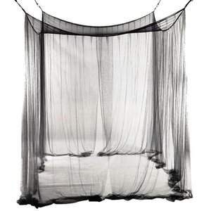 New 4-Corner Bed Netting Canopy Mosquito Net for Queen King Sized Bed 190*210*240cm (Black)
