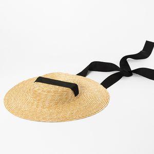 [La MaxPa] Шапочка-лодочка Summer Beach Sun Hat для женщин Модная женская соломенная шляпа с краями 10см