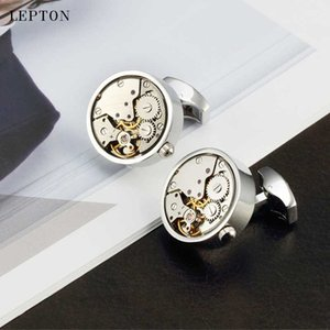 Hot Non-Functional Watch Movement Cufflinks For Mens Round Stainless Steel Silver Color Steampunk Gear Watch Mechanism Cufflink