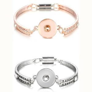 10pcs Rose Gold Silver snap Bracelet para as Mulheres Homens Fit DIY 18mm botões de pressão Jóias Bangles Pulseira Botão