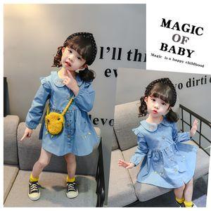 2020 la vendita calda neonate Dress cute denim Stitching Stampa principessa a manica lunga Sweet Dress per la ragazza