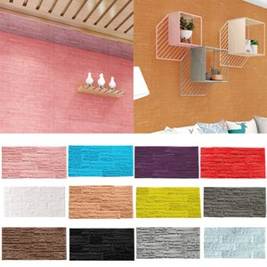 1pc 3D Brick PE Foam Wallpaper Panks Room Decal Stone Decor Embossed Wall Decal TV Background Water Secure Wall Stickers 60 * 30cm