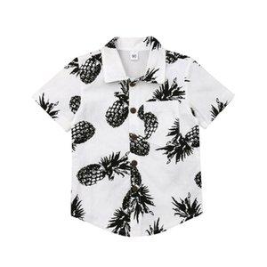 2019 New Hot Sale Summer Kids Boys Pineapple Shirts White Cotton T-shirt Tops 1-6 Year