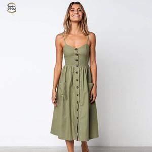 اللباس الصيف النساء جيش خمر الخضراء فستان الشمس 2019 بوهو اسلوب جنسي اللباس ميدي زر عارية الذراعين مخطط الزهور اللباس شاطئ أنثى