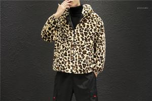 Los hombres ocasionales de bolsillo ropa del estampado leopardo del diseñador del Mens chaquetas MANERA calienta con paneles para hombre de la cremallera chaquetas con capucha