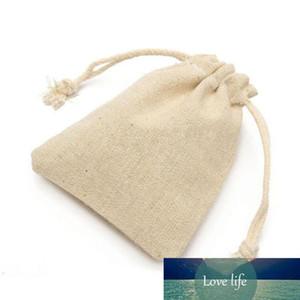 Saco pequeno Natural de linho bolsa de cordão de serapilheira de juta saco com cordão saco do presente