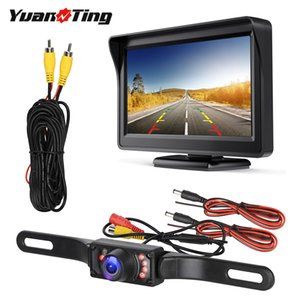 YuanTing 자동차 유니버설 유선 방수 번호판 야간 백업 역 카메라 + 4.3 인치 TFT LCD 뒷면 모니터