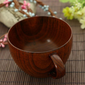 210ml Coffee Cup Natural Jujube Wood Cup with Handgrip Tea Milk Travel Wine Beer Cups for Home Bar Kitchen Accessories