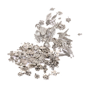 100 Pieces Tibetan Silver Mixed Flowers Charms Pendant Beads Making Findings