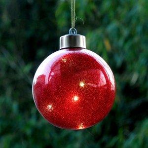 Diametro = 8 cm Colore di illuminazione in vetro Christmas Ball Argento Glass Globe Decorazioni dell'albero di Natale Mall partito di festa finestra Props