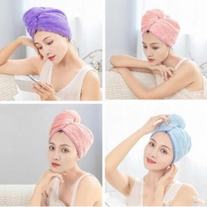 Quickly Dry Hair Towel Pure Color Lady Hair Wrap Cap with Button Tx4h4hickened Coral fleece Fashion Dry Hair Cap WY433Q-1