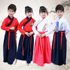 Hanfu Girls Chinese Folk Dance Costume Kids tradicional ropa antigua niños Dinastía Tang etapa trajes disfraces niños usan DN3607