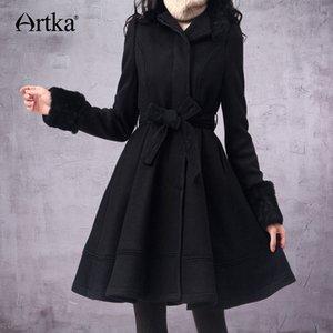 ARTKA Women's Wool Coat Winter 2018 Long Coat With Belt Korean Fur Female Wool Blend Brand Outwear For Women FA10135D