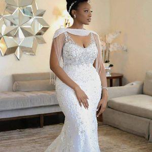 2020 Aso Afrique Ebi Sirène Weddding dreses avec Wrap Tassel perles en cristal dentelle Appliqued sexy robe de mariée sud-africaine