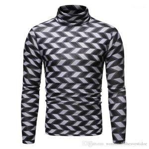 Camiseta delgada ocasional de Hiphop camiseta de manga larga para hombre de la moda suéter Tops de lujo para hombre de la tela escocesa