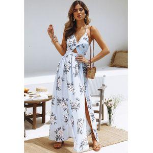 Women Dress Summer Sexy Boho Maxi Long Dress Beach Dresses Sundress Print Floral Halter Vestido V Neck Evening Party