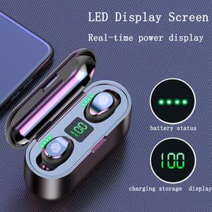 F9 TWS беспроводные наушники цифровой светодиодный дисплей Bluetooth V5. 0 наушники Bluetooth наушники с 2000mAh Power Bank гарнитура с M