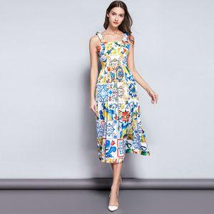 2019 Abiti eleganti da donna eleganti di moda, abito stampato retrò palazzo di Lady's bello, gonne Midi Runway cinturino