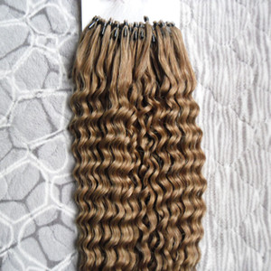 Mongolian Kinky Curly Micro петли кольцо наращивание волос 100 г петли микро кольцо волос 1 г / с 100 г / пакет 100% человеческие микросистемы с бисером REMY
