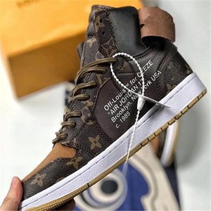 Air Jordan AJ1 x Louis Vuitton x Off White 2020 neue 1 Luxuxentwurf Chaussures de Basketball sur mesure Retro Chaussures Fragment Chicago blanc UNC Homme